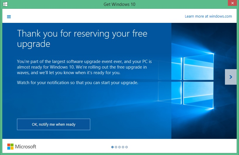 image windows 10 reservation screen shot