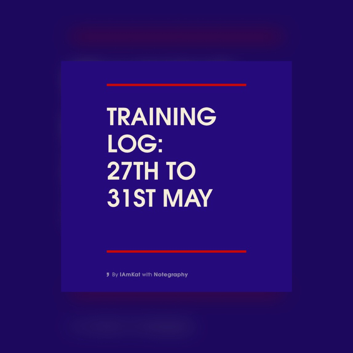 Training Log: 27th – 31st May