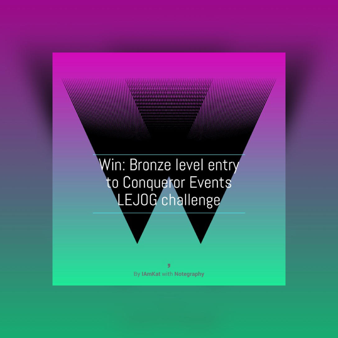 Image wording - win: bronze level entry to Conqueror Events LEJOG challenge