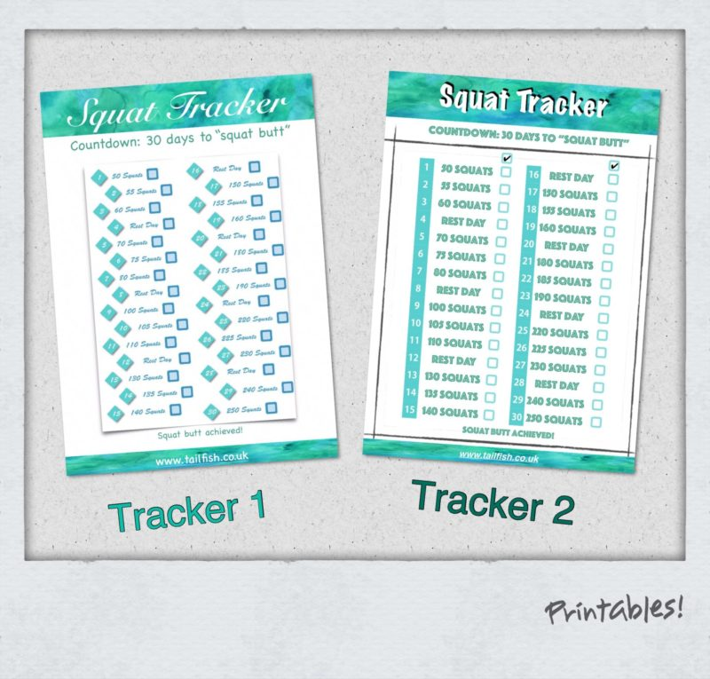Tailfish Squat Tracker Printable images