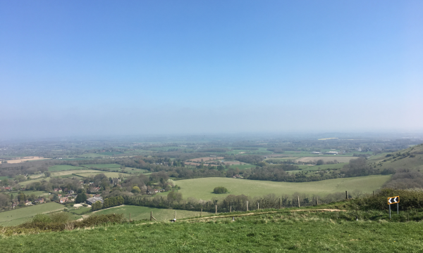 image - view from Ditchling Beacon Car Park on South Downs Way