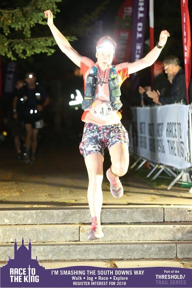 image - Kat Miller clears the stairs on a sprint finish at Race to the King #RTTK2017