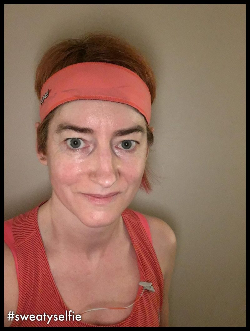 Sweaty selfie - picture of Kat after her last workout of 2017