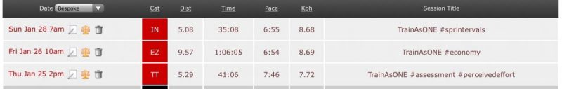 Image shows my 3 runs for the week