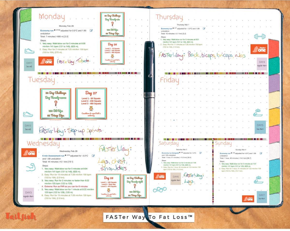 Image shows digital Bullet Journal summary of the week ahead