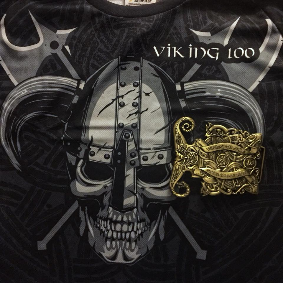 image shows Viking 100 finisher shirt and gold belt buckle