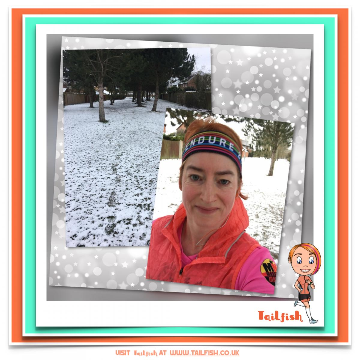 image shows snowy trail and run selfie