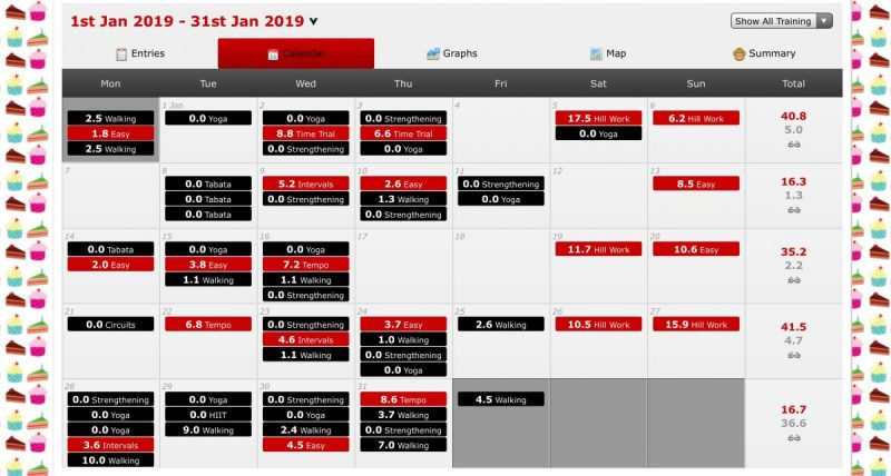 Summary of January workouts from training log