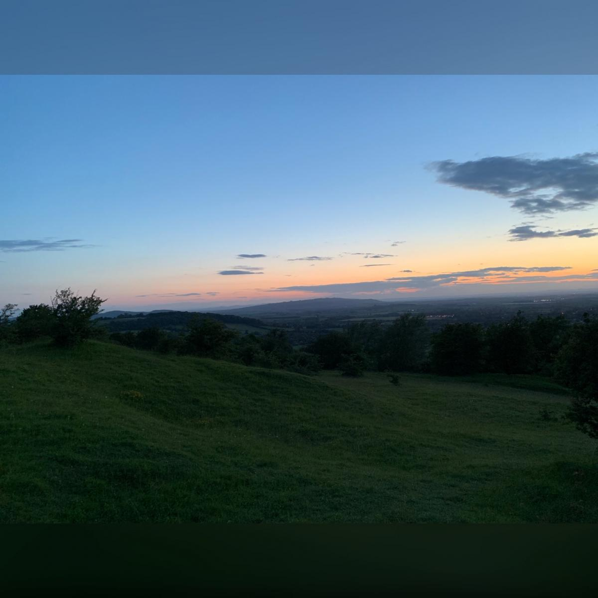 Sunset image taken 2 thirds of the way up the hill to Broadway Tower, the Malvern Hills sneak into the background
